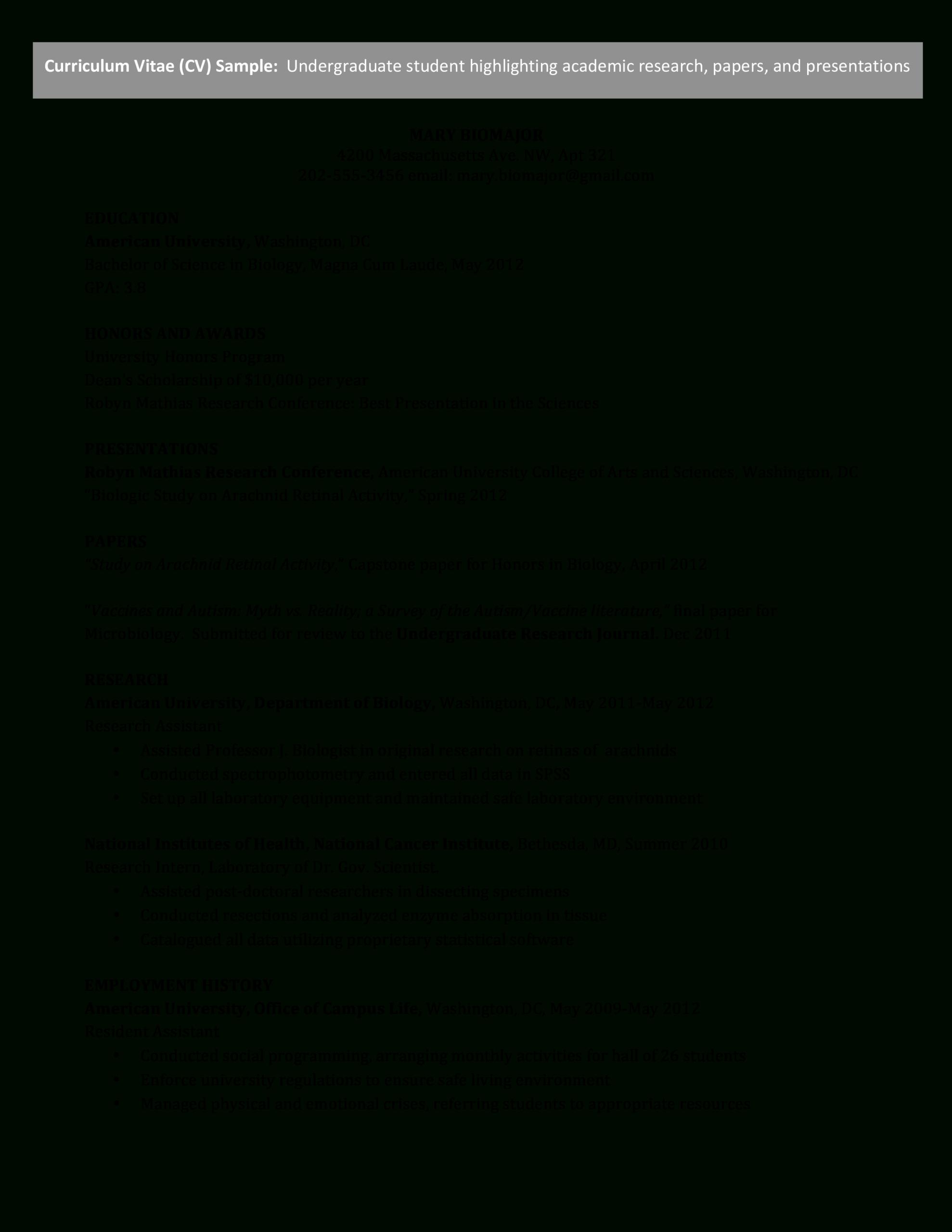 Microsoft Word - Undergraduate Cv - Science.docx pertaining to Scientific Paper Template Word 2010