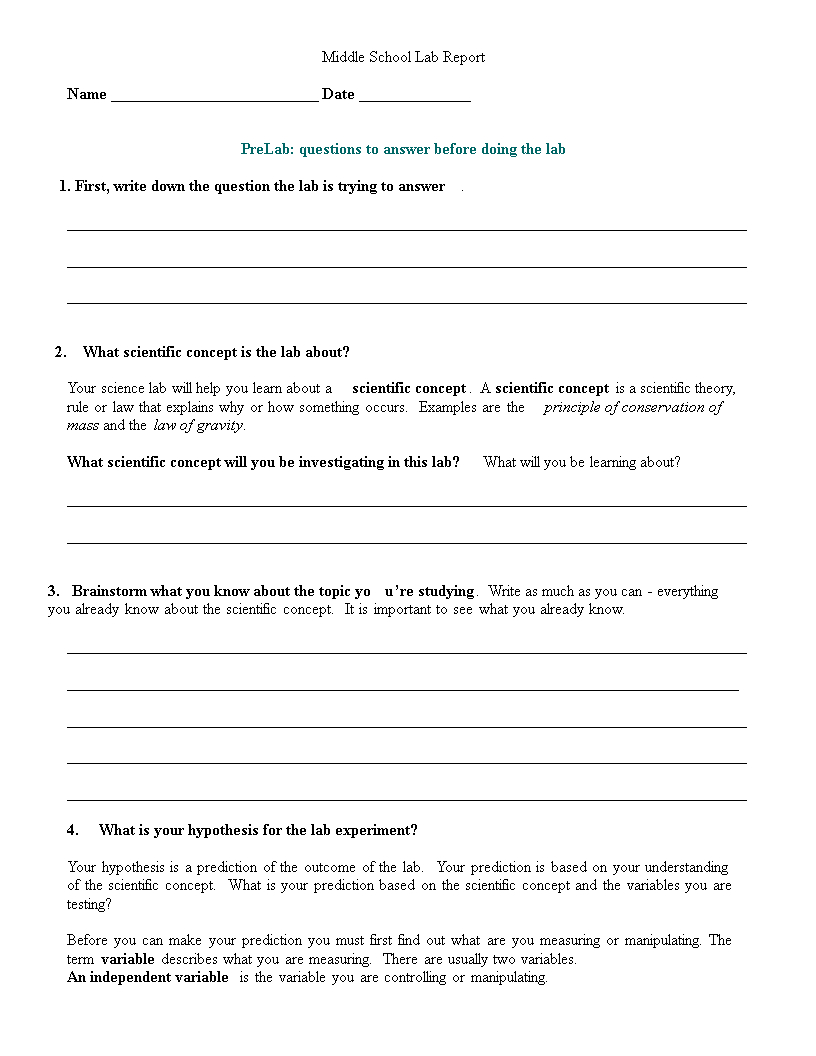 Middle School Lab Report | Templates At with regard to Lab Report Template Middle School
