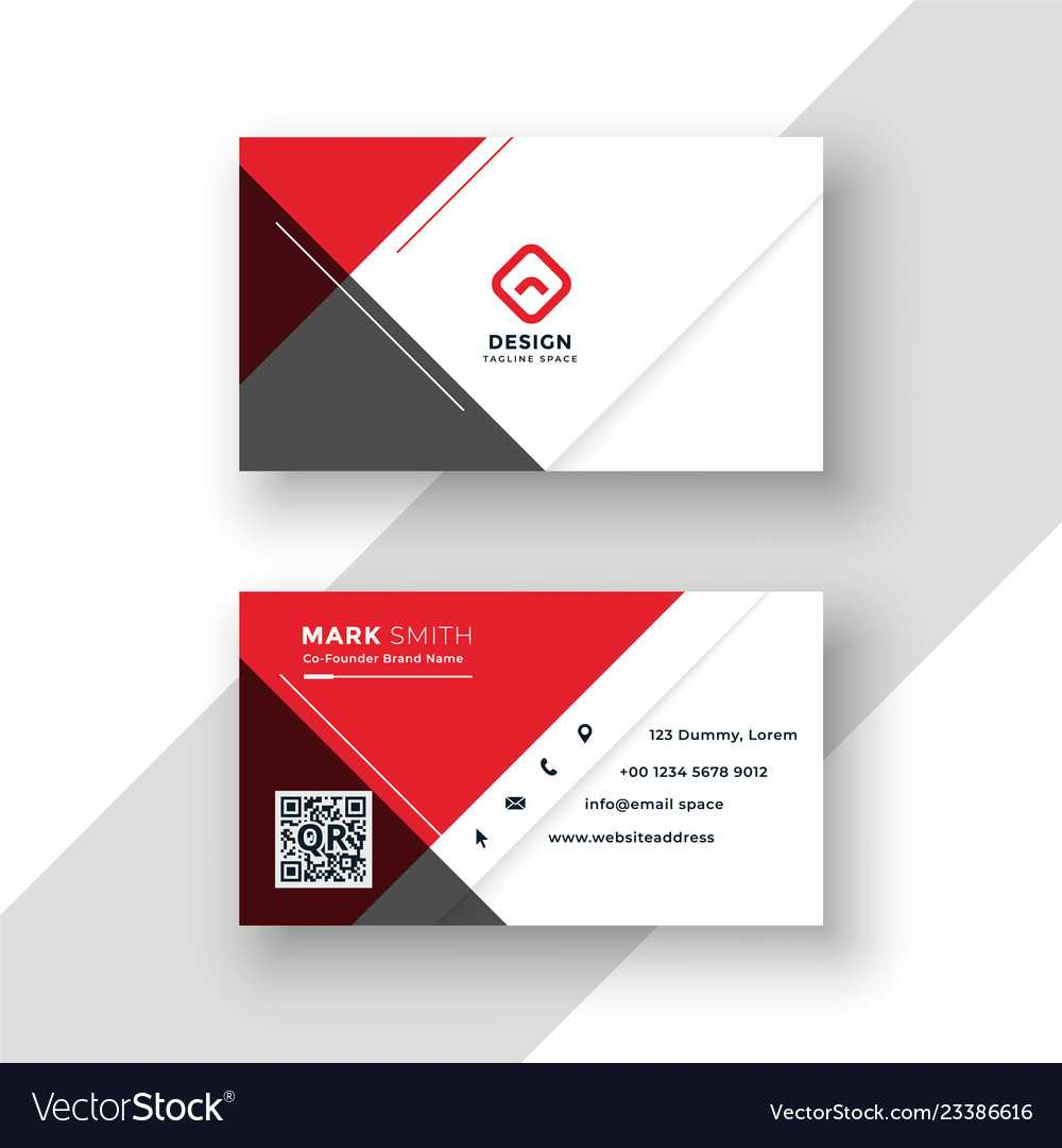 Minimal Red Business Card Template Design for Download Visiting Card Templates