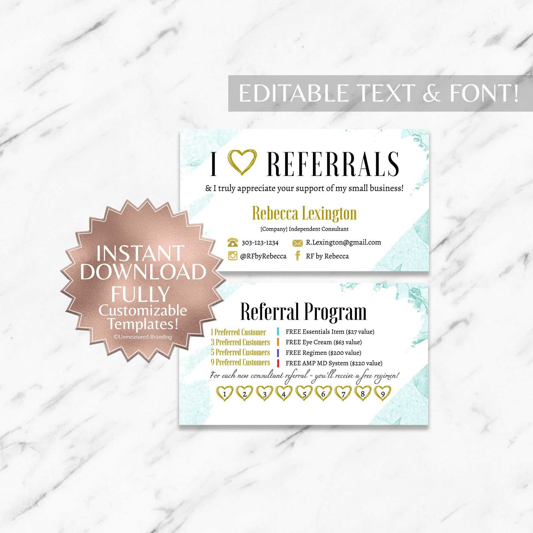 Mint Floral Rodan And Fields Referral Card Instant Download regarding Referral Card Template