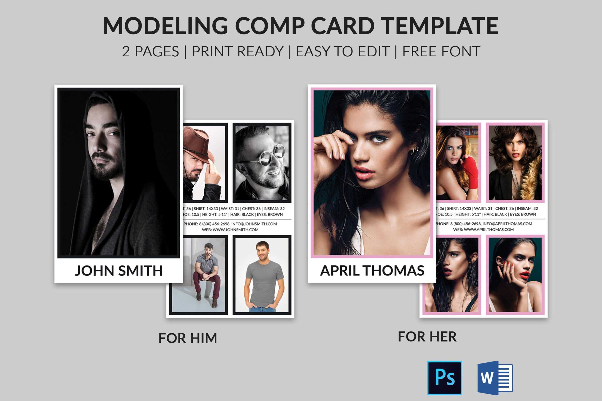 Modeling Comp Card | Model Agency Zed Card | Photoshop & Ms within Free Zed Card Template