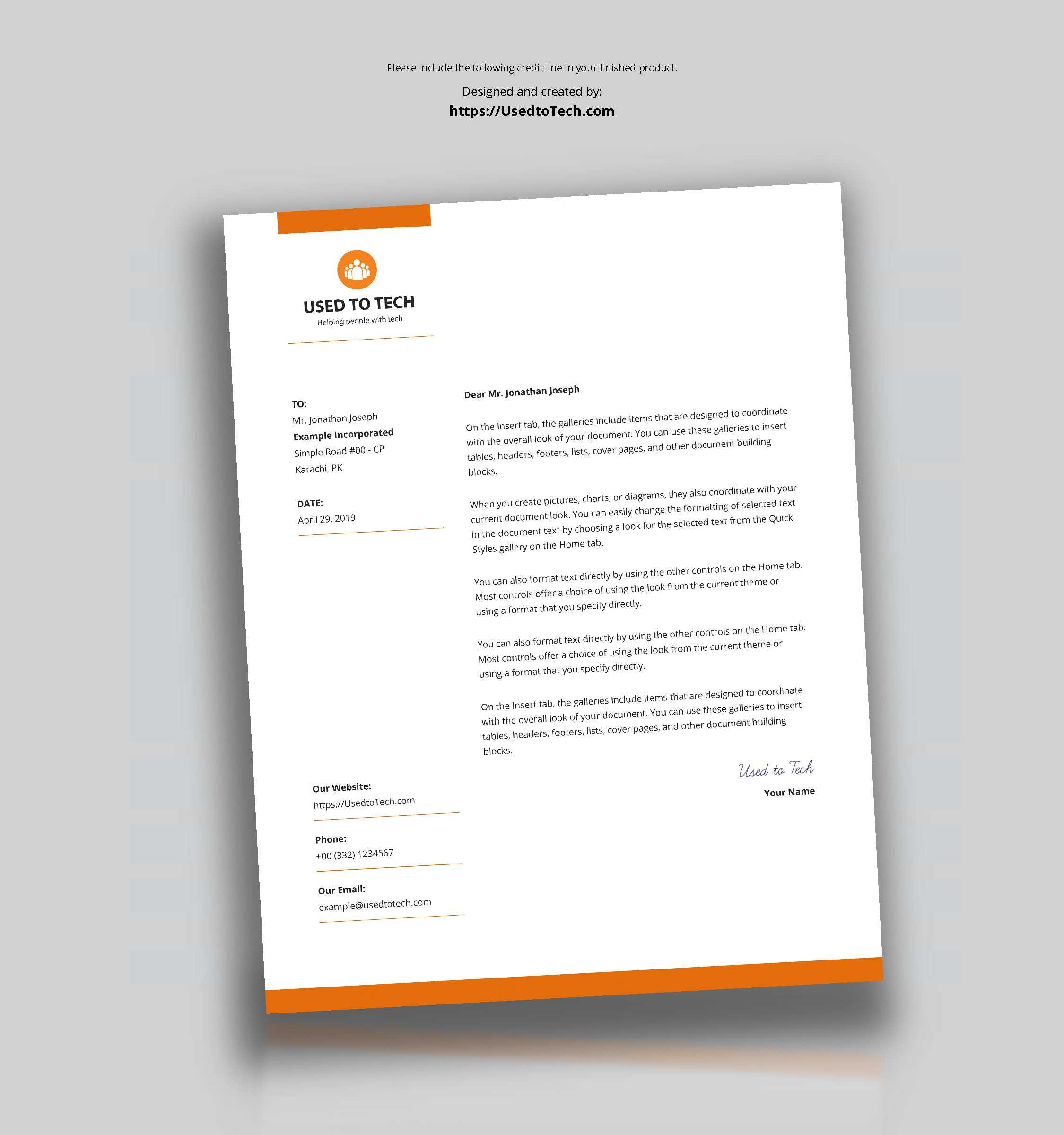 Modern Letterhead Template In Microsoft Word Free - Used To Tech Within Free Letterhead Templates For Microsoft Word