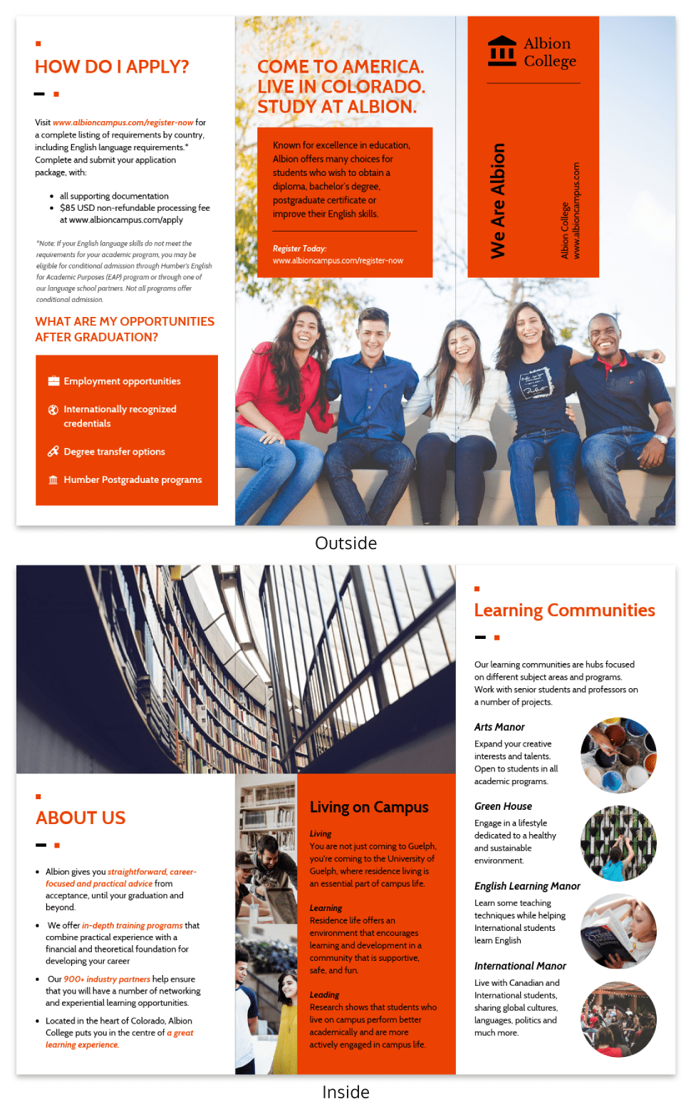 Modern Orange College Tri Fold Brochure Template within Engineering Brochure Templates