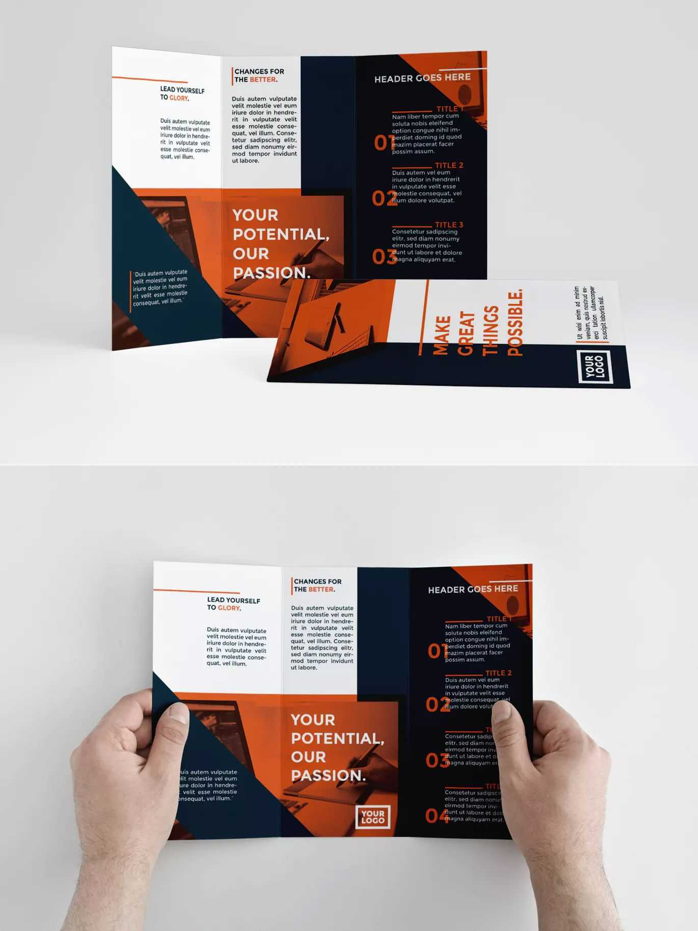 Modern Orange Trifold Brochure Template Indesign Indd - A4 inside Tri Fold Brochure Template Indesign Free Download