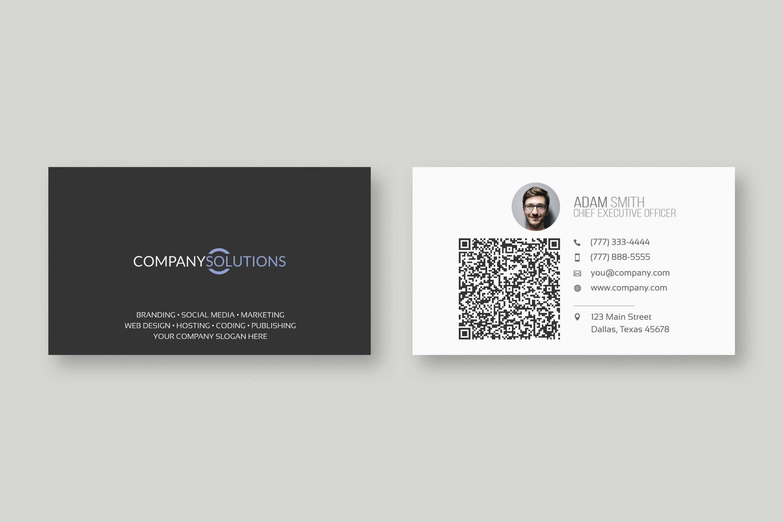 Modern Qr Code Business Card Template In Qr Code Business Card Template