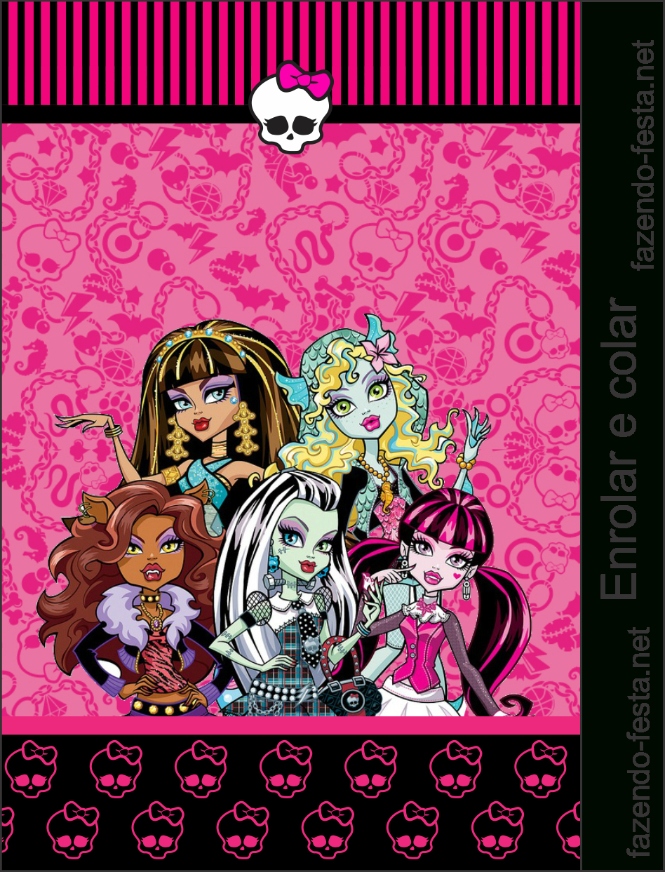 Monster High In Pink: Free Printable Kit. | School Bags For with Monster High Birthday Card Template
