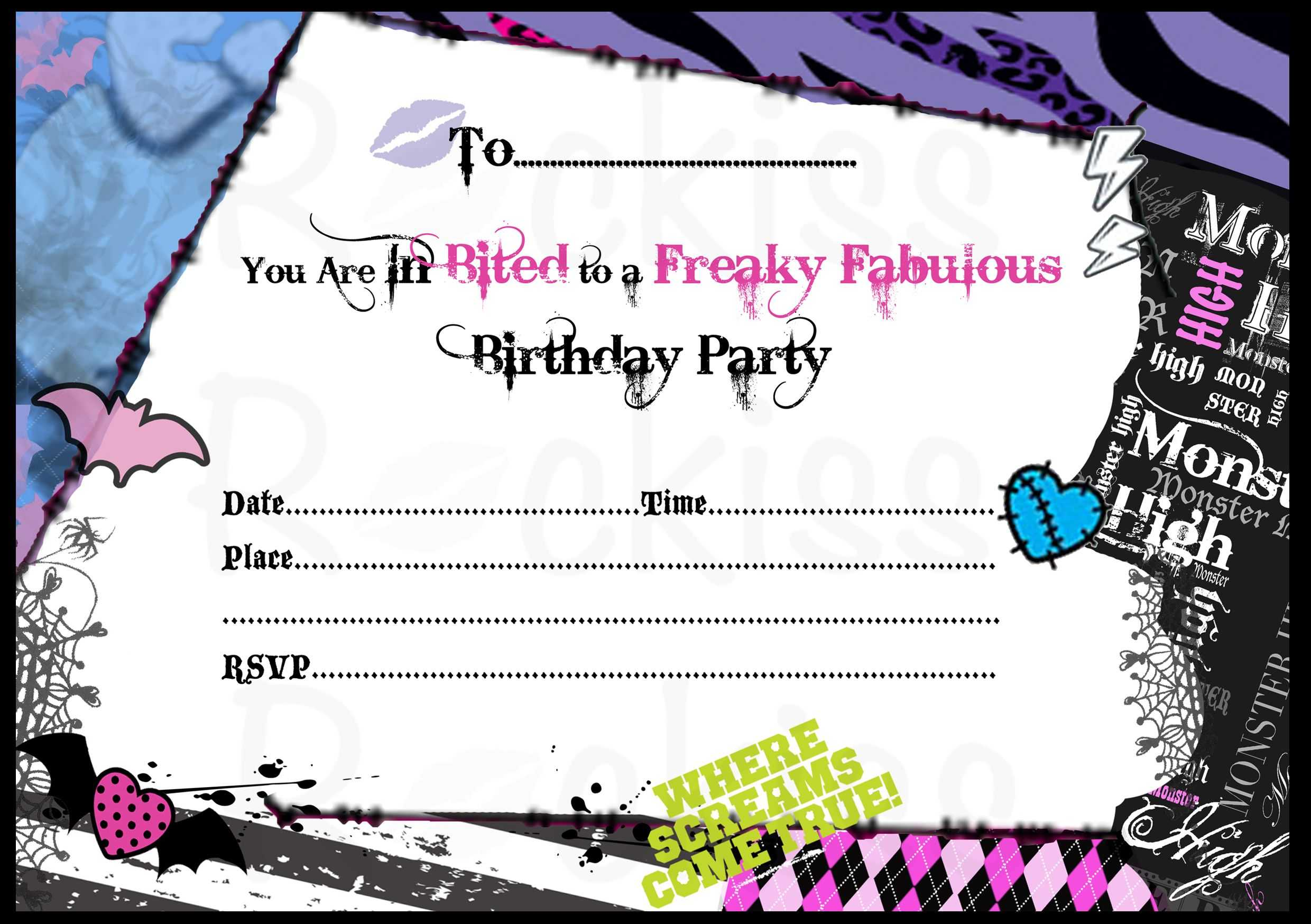Monster High Invitations Download Free | Monster High pertaining to Monster High Birthday Card Template