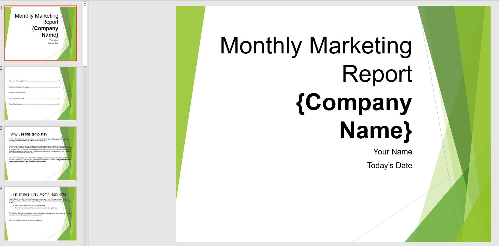 Monthly Marketing Reporting Powerpoint Template | Templates throughout Monthly Report Template Ppt
