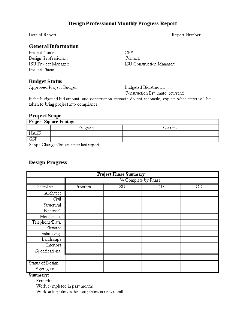 Monthly Progress Report In Word   Templates At With Monthly Progress Report Template