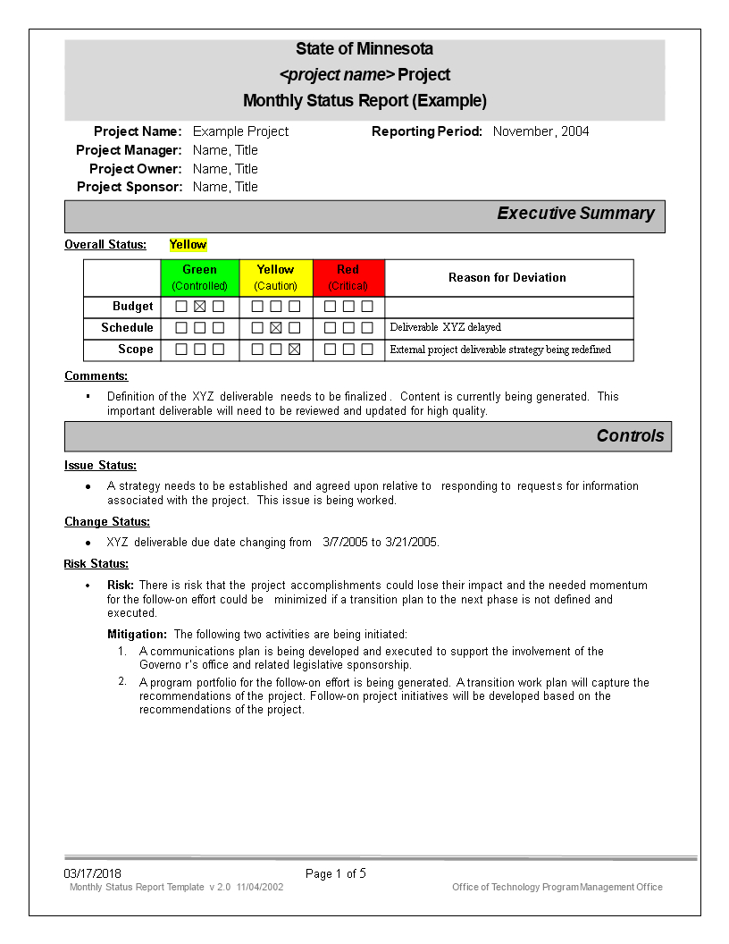 Monthly Status Report | Templates At Allbusinesstemplates inside State Report Template