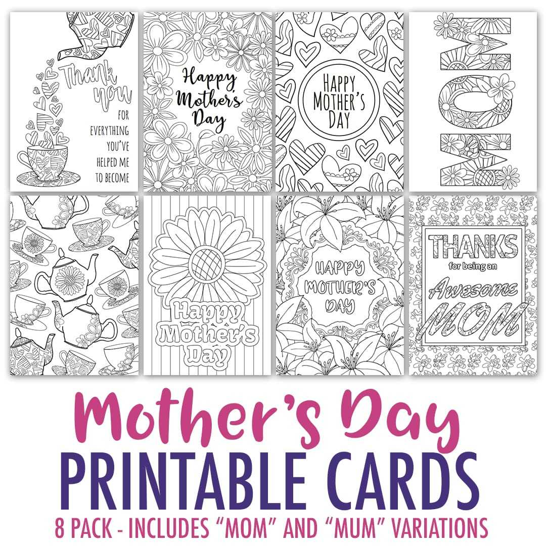 Mother's Day Coloring Cards   8 Pack With Regard To Mothers Day Card Templates