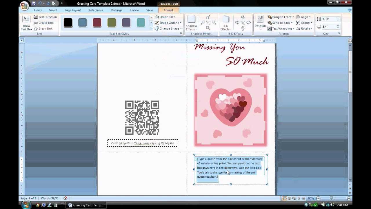 Ms Word Tutorial (Part 1) - Greeting Card Template, Inserting And  Formatting Text, Rotating Text With Birthday Card Template Microsoft Word