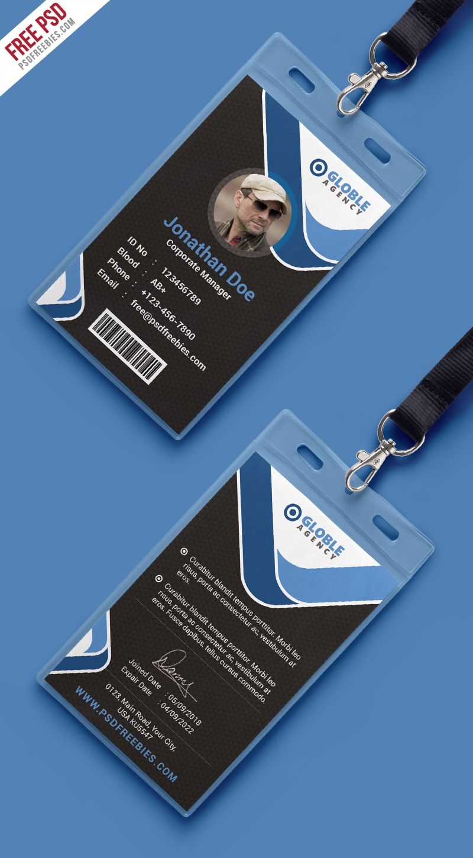 Multipurpose Dark Office Id Card Free Psd Template   Id Card Within Id Card Design Template Psd Free Download