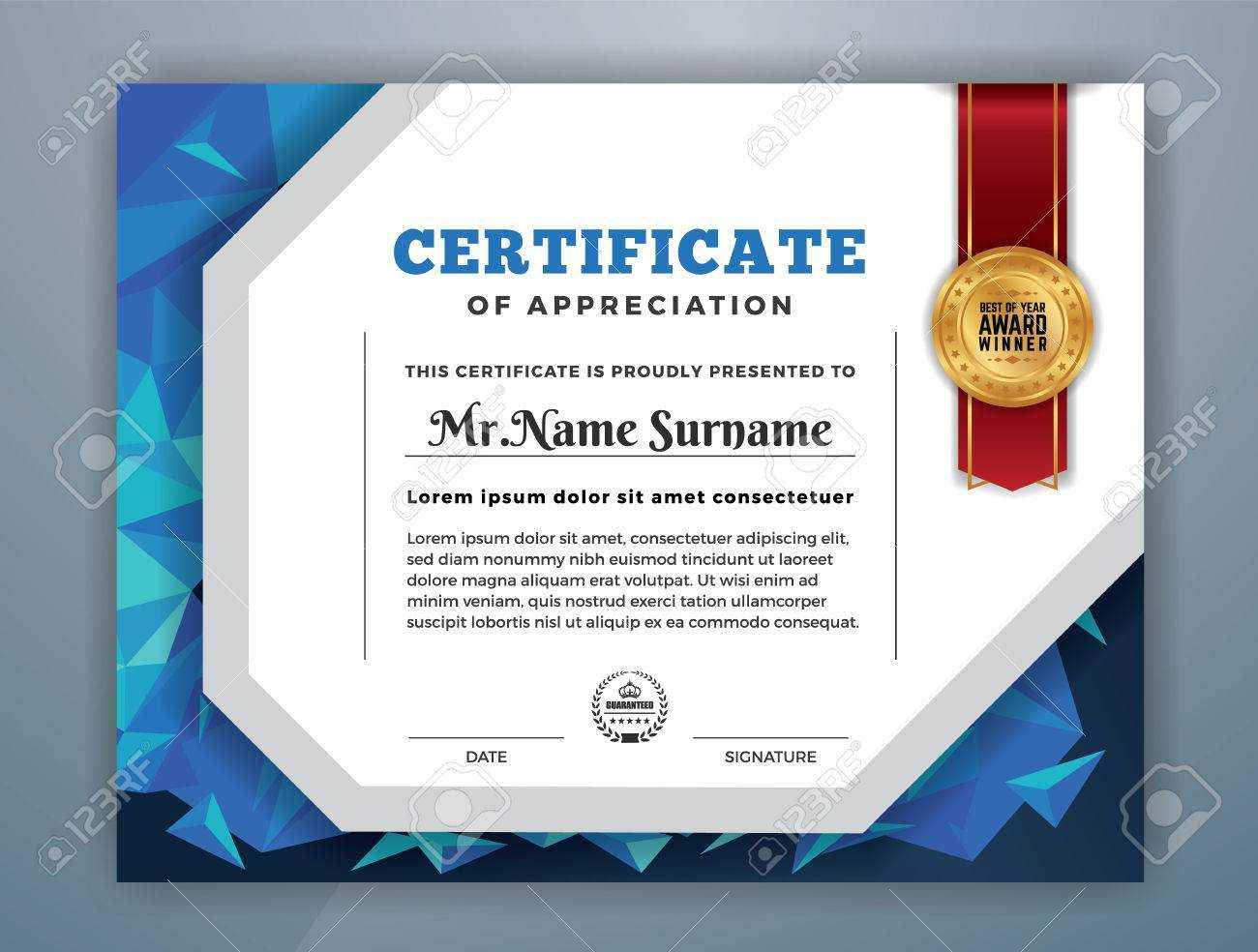 Multipurpose Modern Professional Certificate Template Design.. in Professional Award Certificate Template