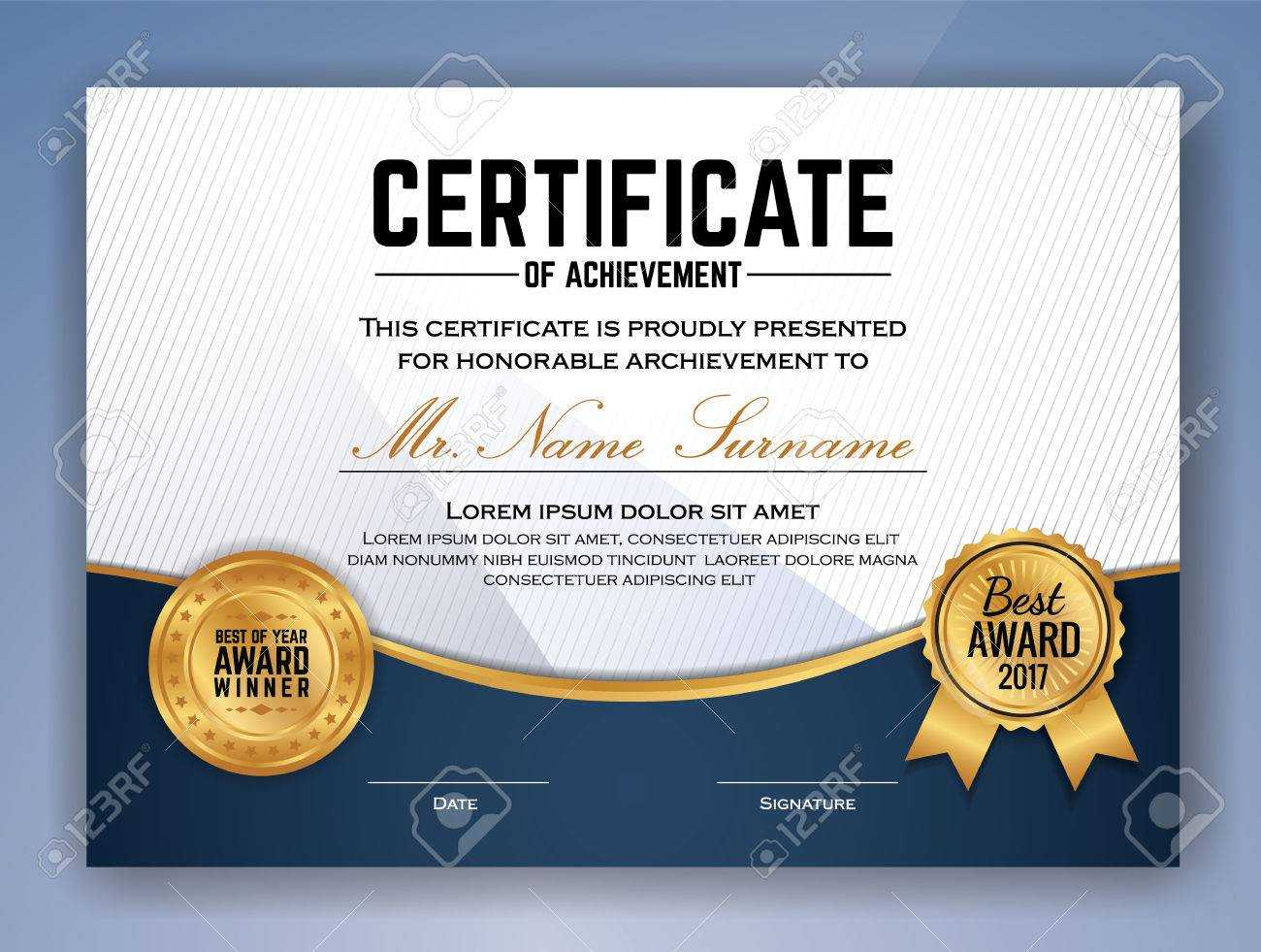 Multipurpose Professional Certificate Template Design For Print With Professional Award Certificate Template