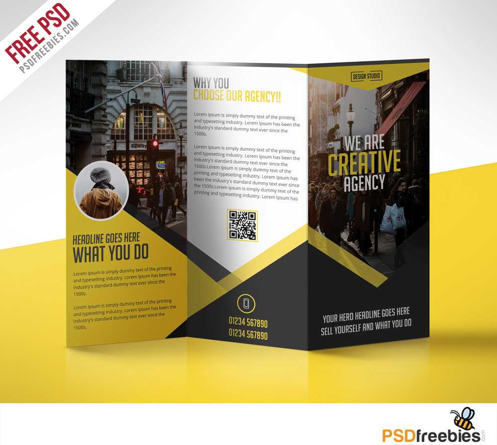 Multipurpose Trifold Business Brochure Free Psd Template Pertaining To 3 Fold Brochure Template Psd