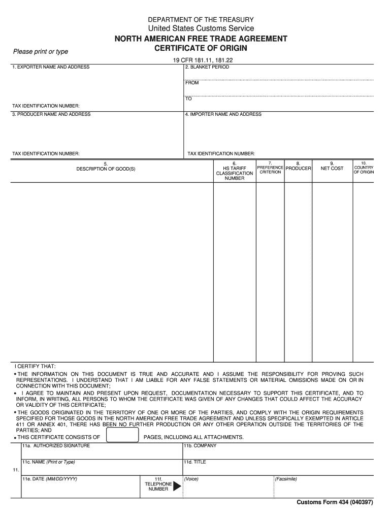 Nafta Certificate Of Origin - Fill Online, Printable Regarding Nafta Certificate Template