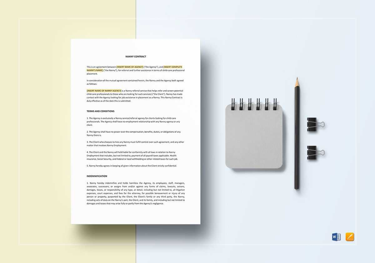 Nanny Contract Template With Nanny Contract Template Word