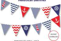 Nautical Banner, Printable Banner, Nautical, Diy Party, Navy Throughout Nautical Banner Template