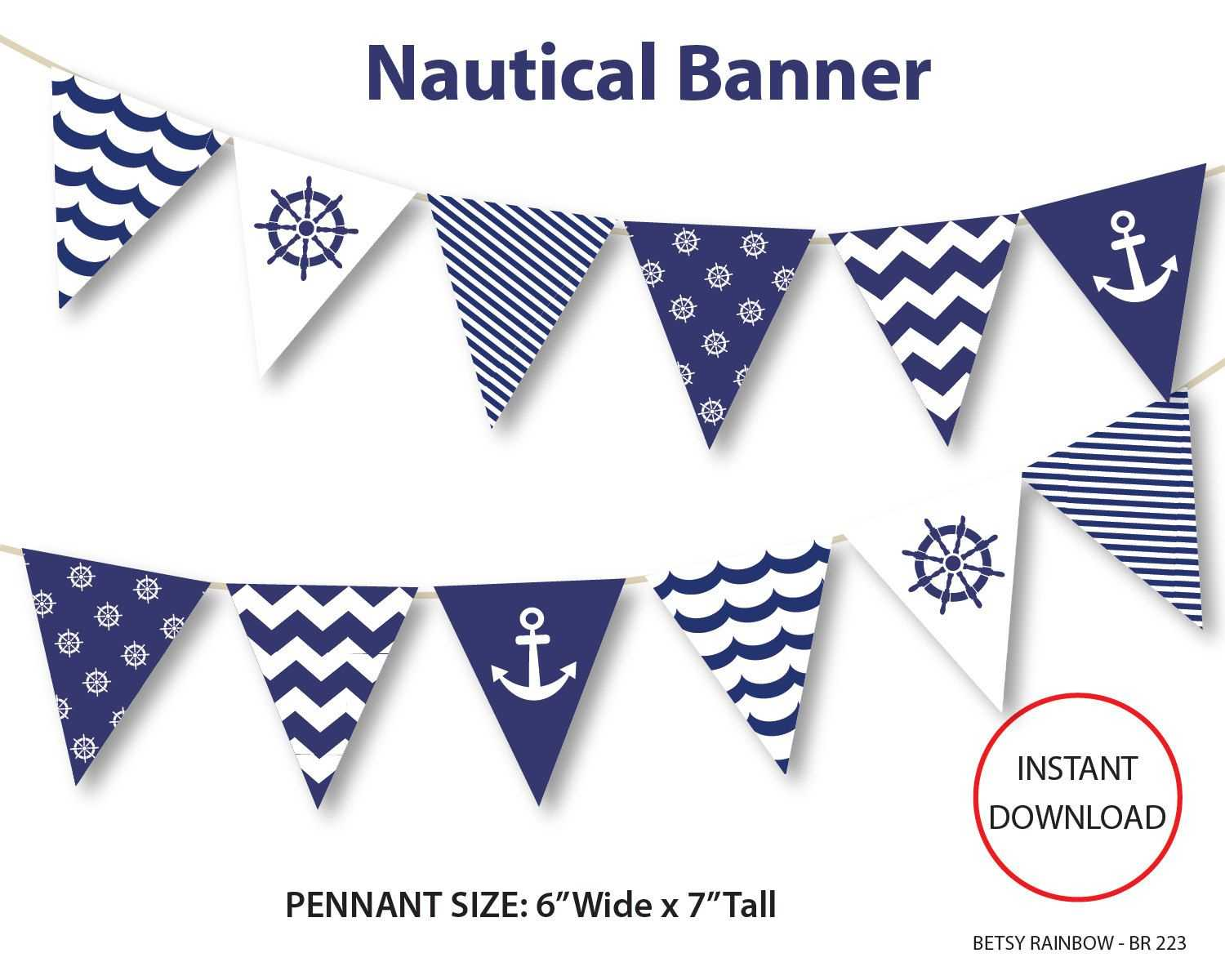 Nautical Banner, Printable Banner, Nautical, Diy Party, Navy Within Nautical Banner Template