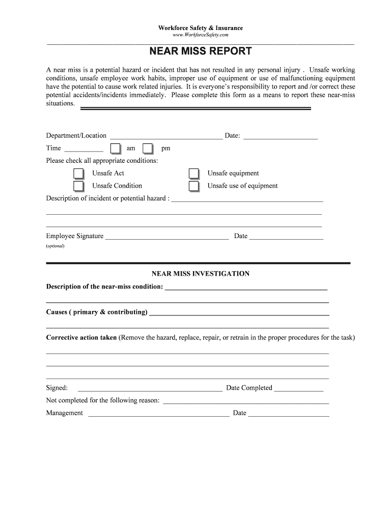 Near Miss Report Form - Fill Online, Printable, Fillable intended for Incident Hazard Report Form Template