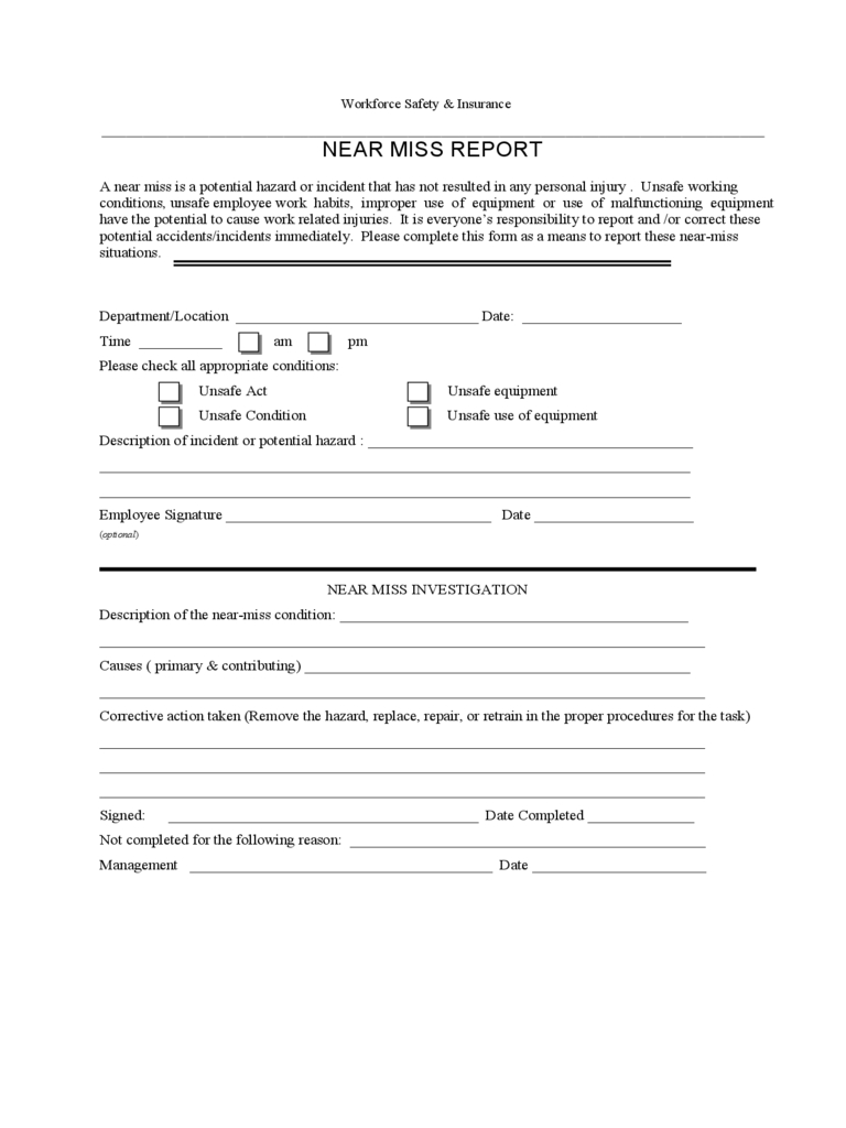 Near Miss Reporting Form - 2 Free Templates In Pdf, Word pertaining to Near Miss Incident Report Template