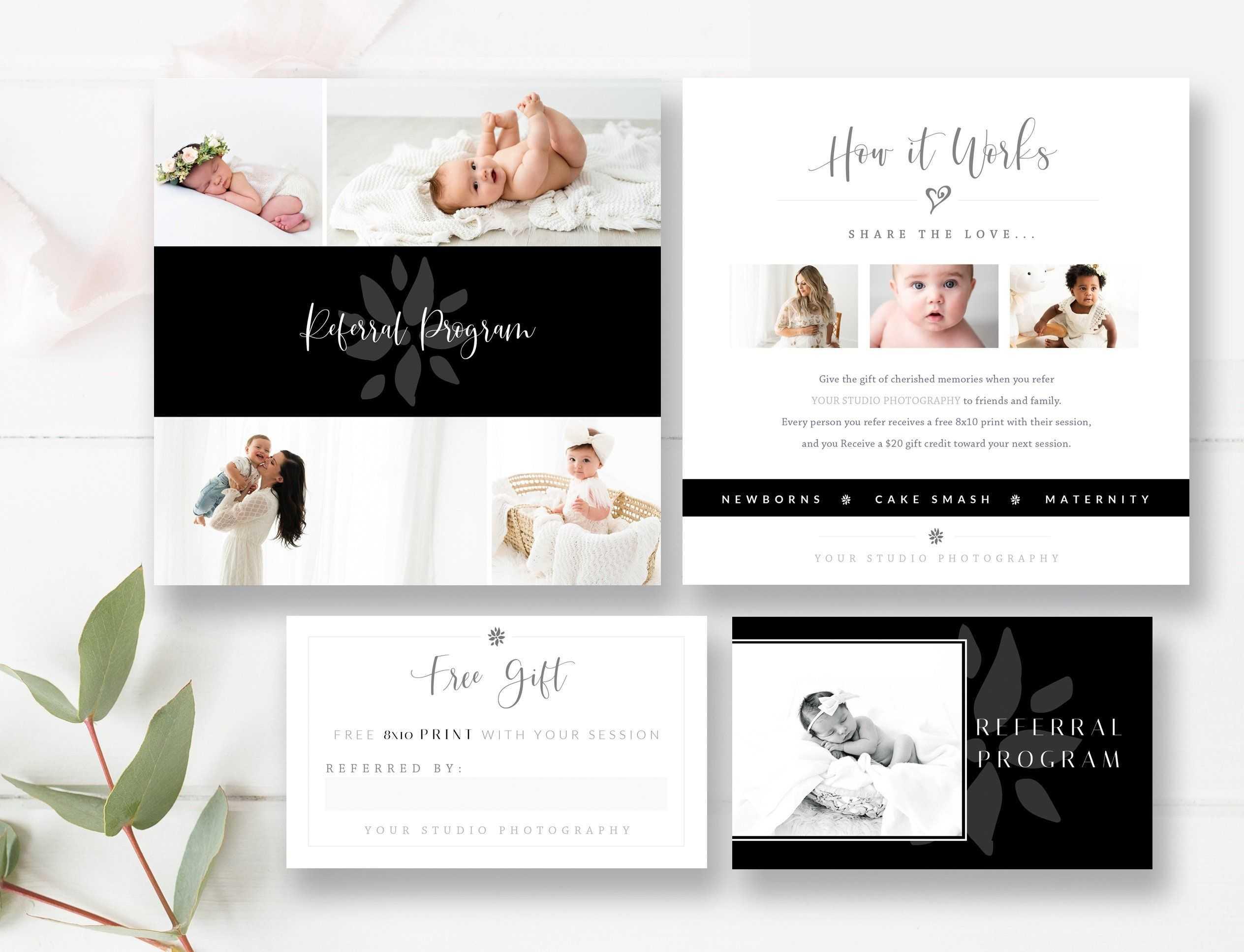 Newborn Photography Referral Card + Matching Business Card with Photography Referral Card Templates