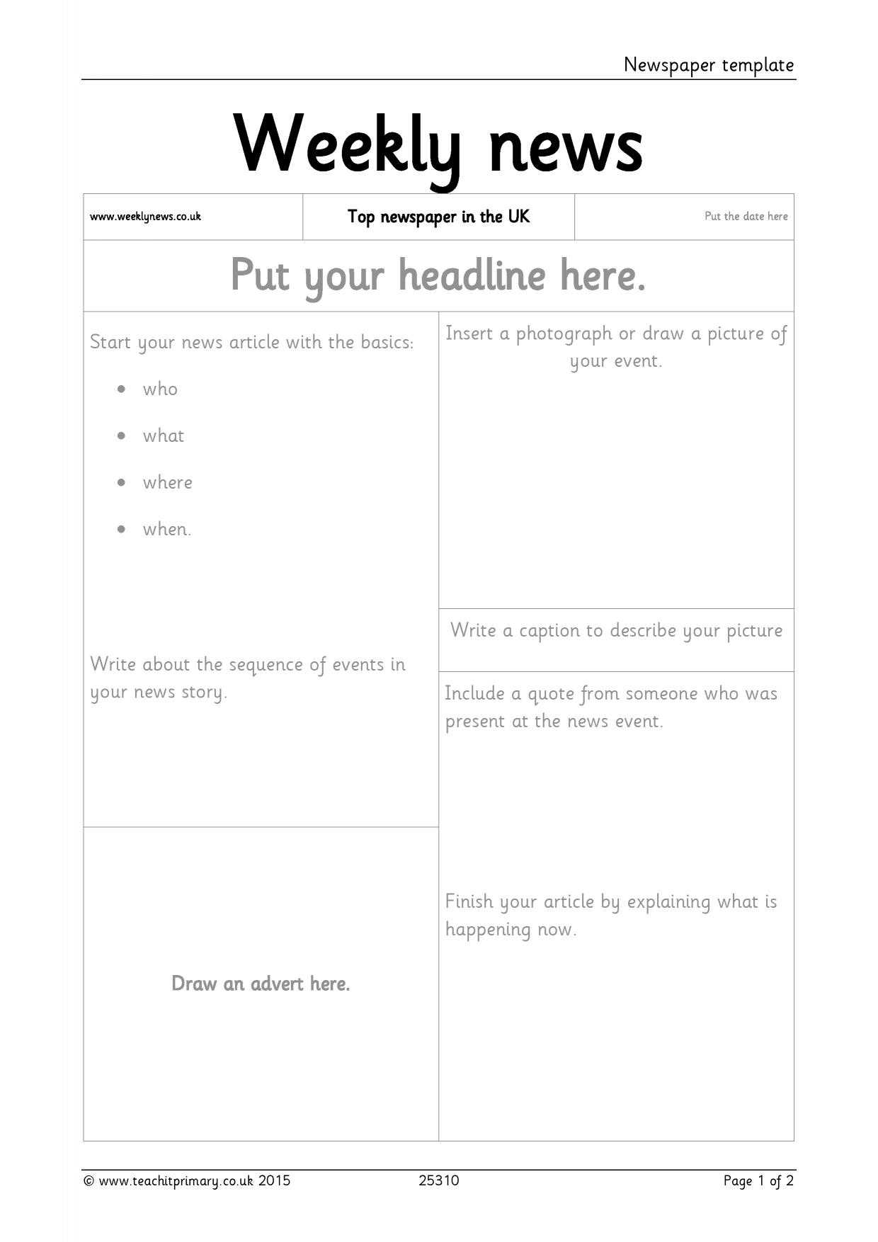Newspaper Template regarding Science Report Template Ks2