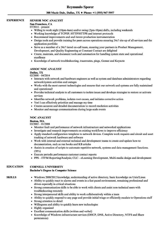 Noc Analyst Resume Samples | Velvet Jobs within Noc Report Template