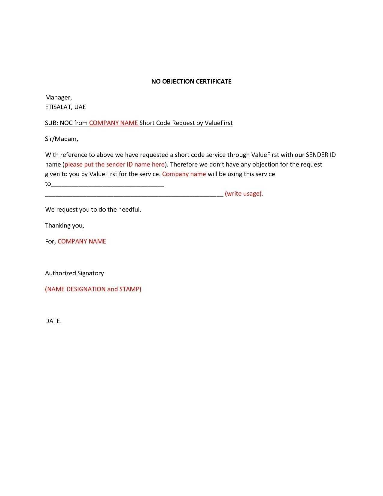 Noc Letter Format To Bank Manager Write Sample Certificate with Noc Report Template