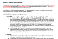 Non-Disclosure Agreement for Nda Template Word Document