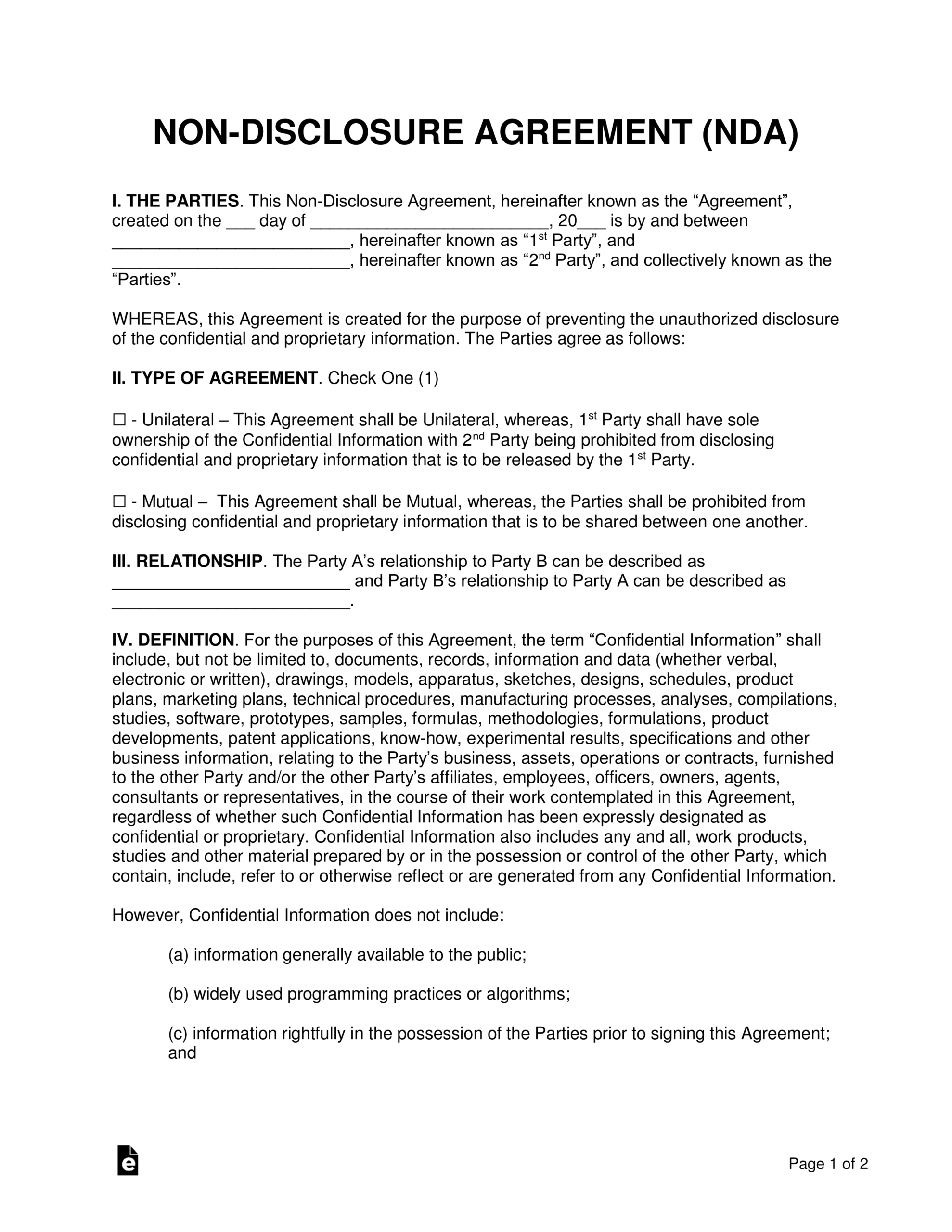 Non Disclosure (Nda) Agreement Templates | Eforms – Free Intended For Nda Template Word Document