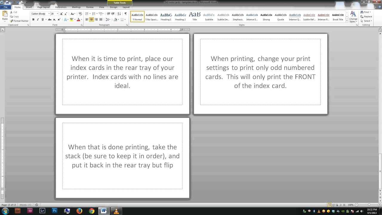 Note/index Cards - Word Template for Blank Index Card Template