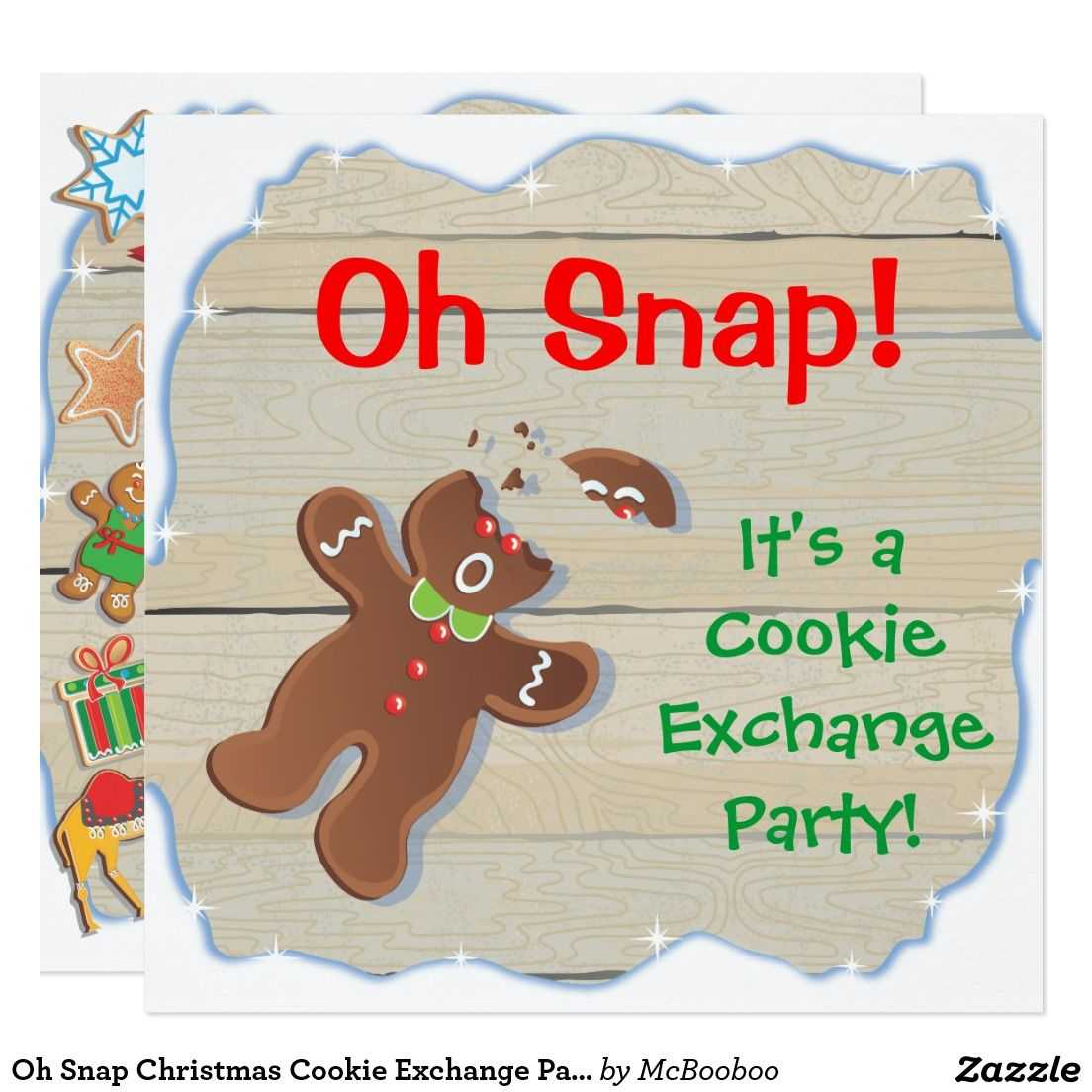 Oh Snap Christmas Cookie Exchange Party Invitation   Zazzle with regard to Cookie Exchange Recipe Card Template