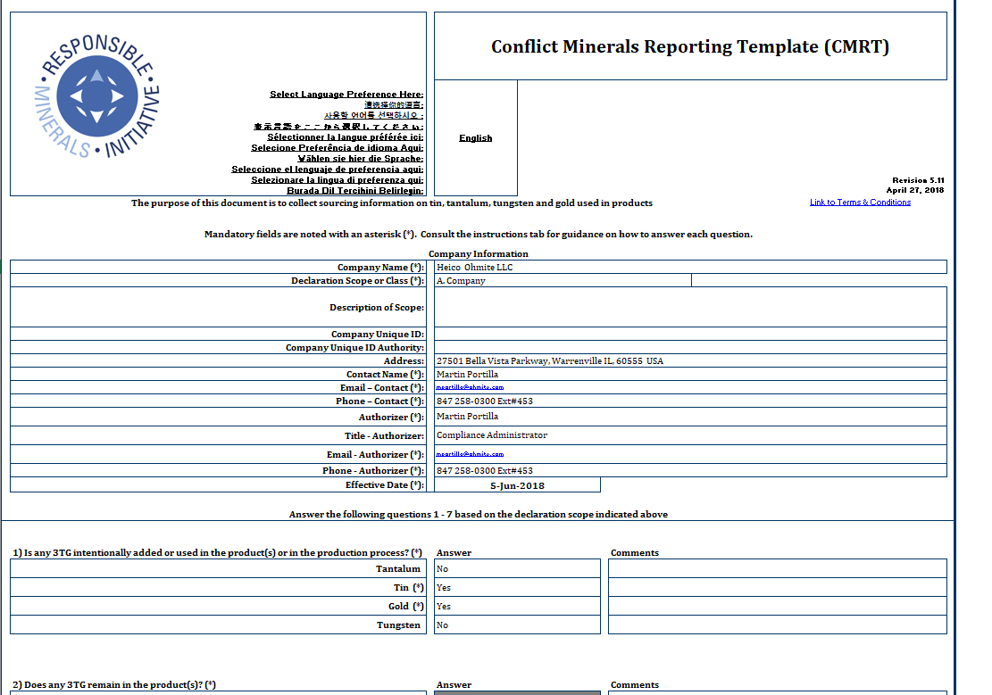 Ohmite - Conflict Minerals Reporting Template (Cmrt) - Rell Intended For Conflict Minerals Reporting Template