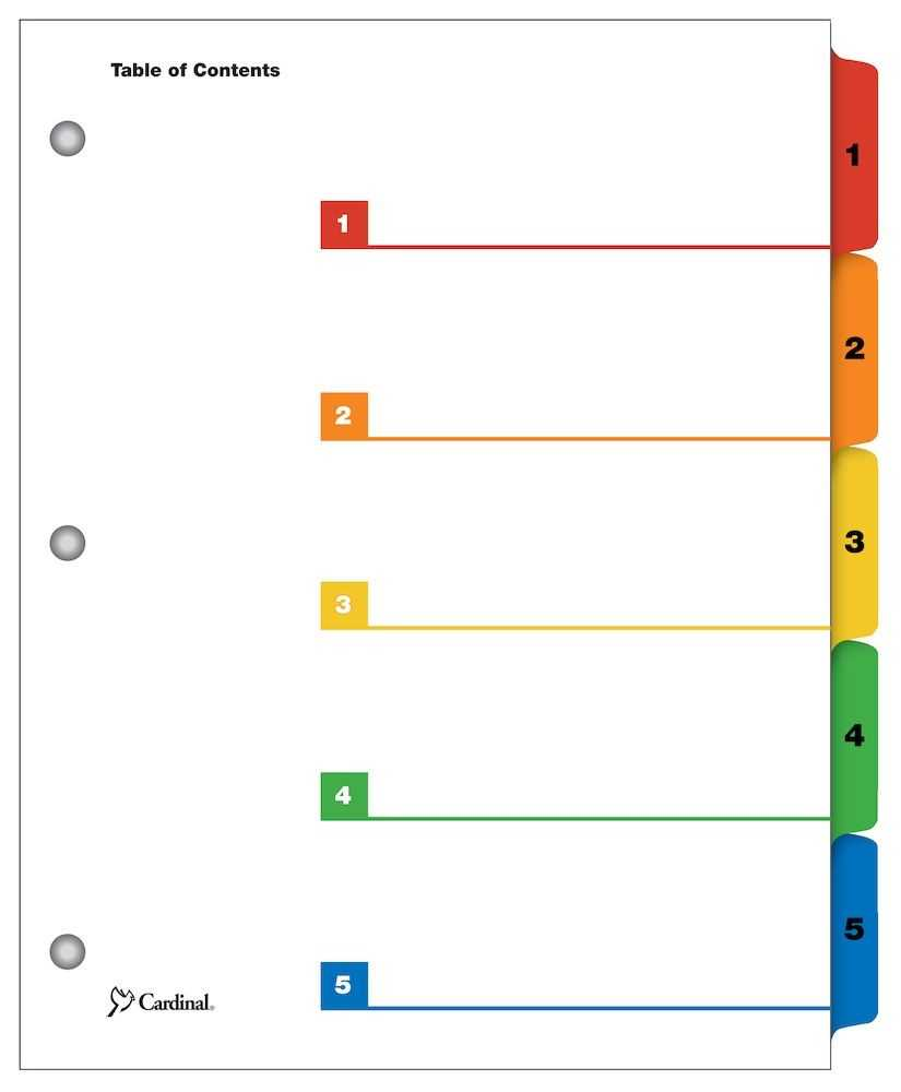 Onestep® Printable Table Of Contents Dividers, 5 Tab, Multicolor intended for Blank Table Of Contents Template Pdf