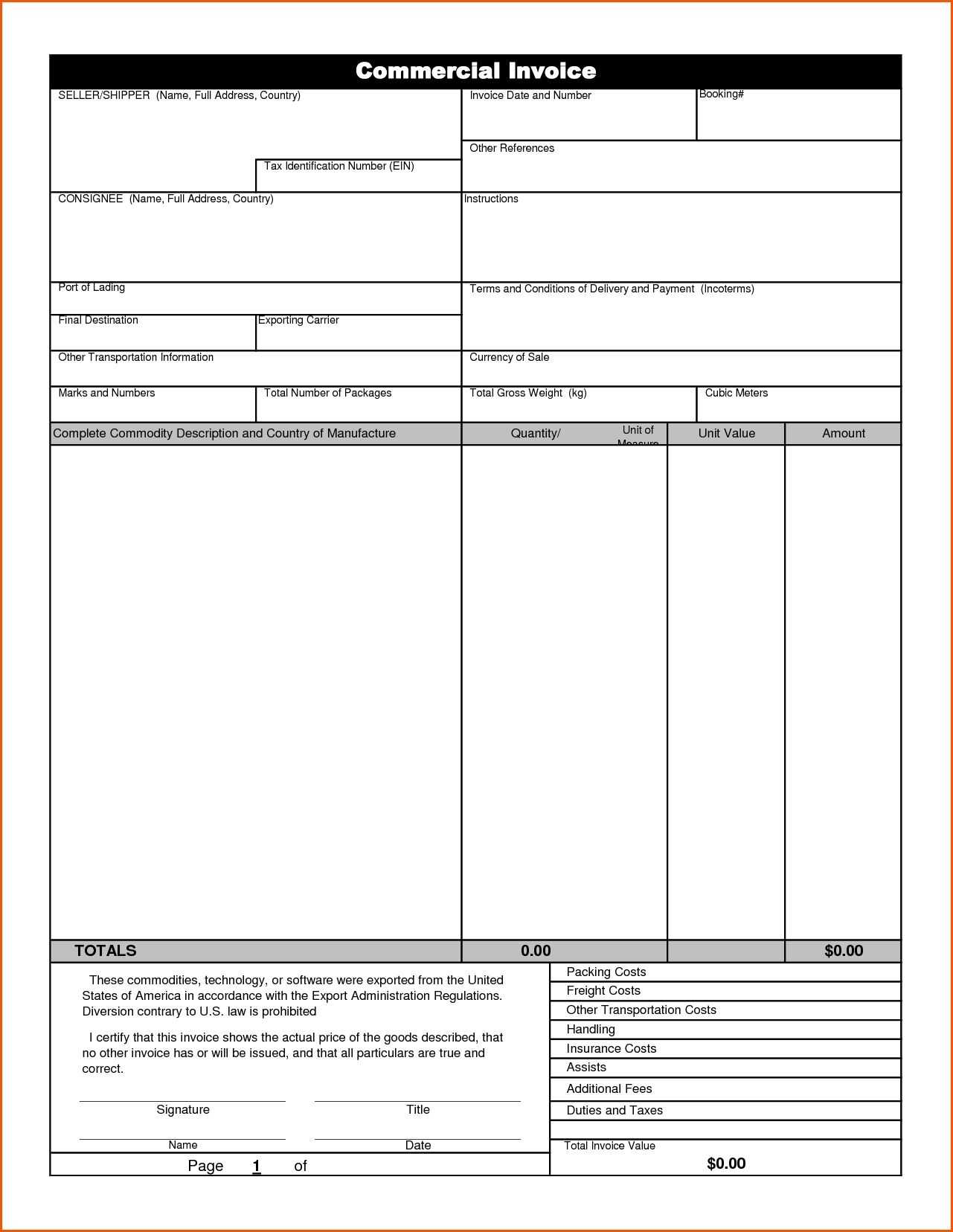 Online Commercial Invoice Form Sample | Invoice Format In Commercial Invoice Template Word Doc