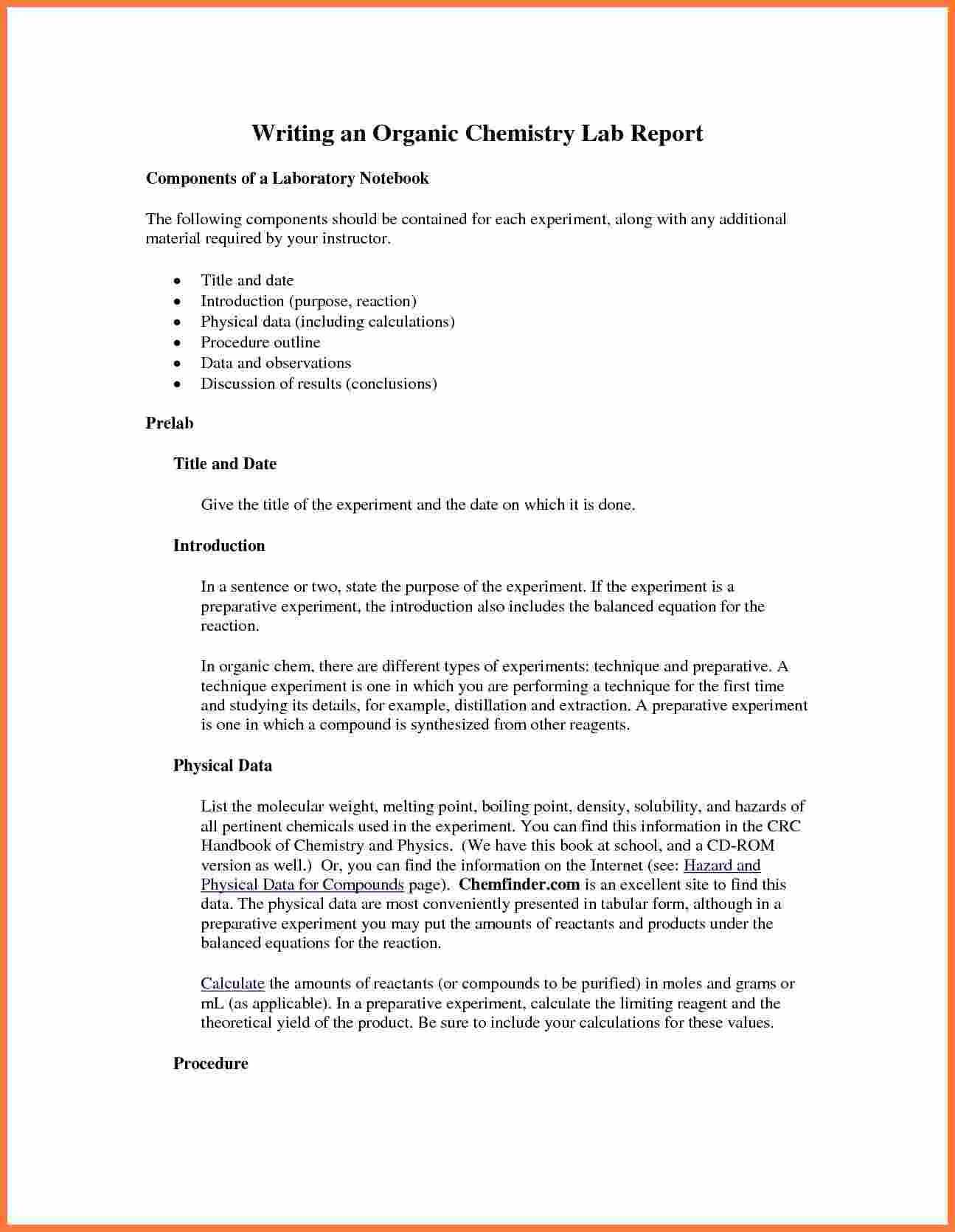 Organic-Chemistry-Lab-Report-Example-Also-Ibmistry-Lab for Ib Lab Report Template