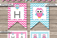 Owl Party Banner Template – Pink with Diy Birthday Banner Template