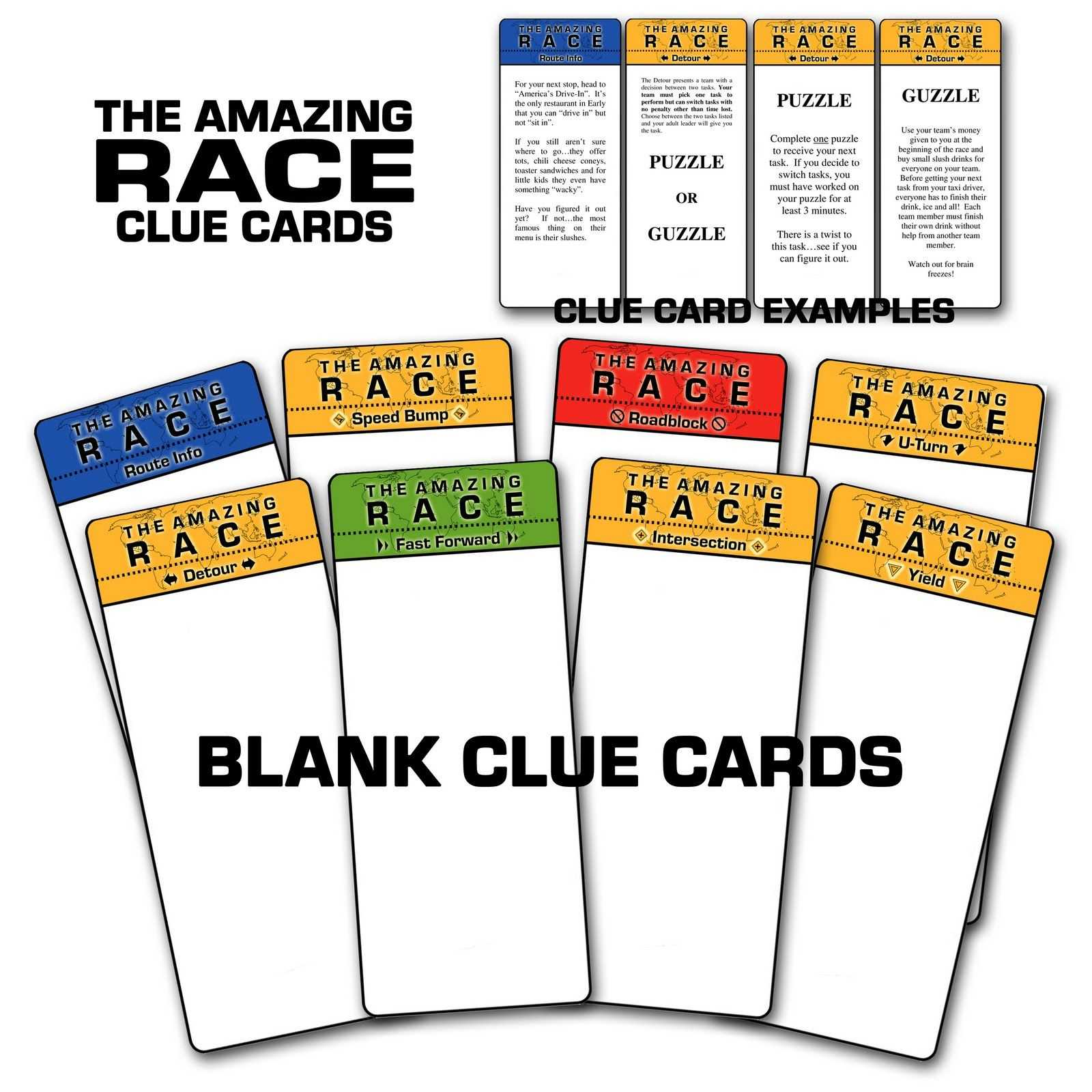 """Paper Perfection: Free """"amazing Race"""" Birthday Party Regarding Clue Card Template"""