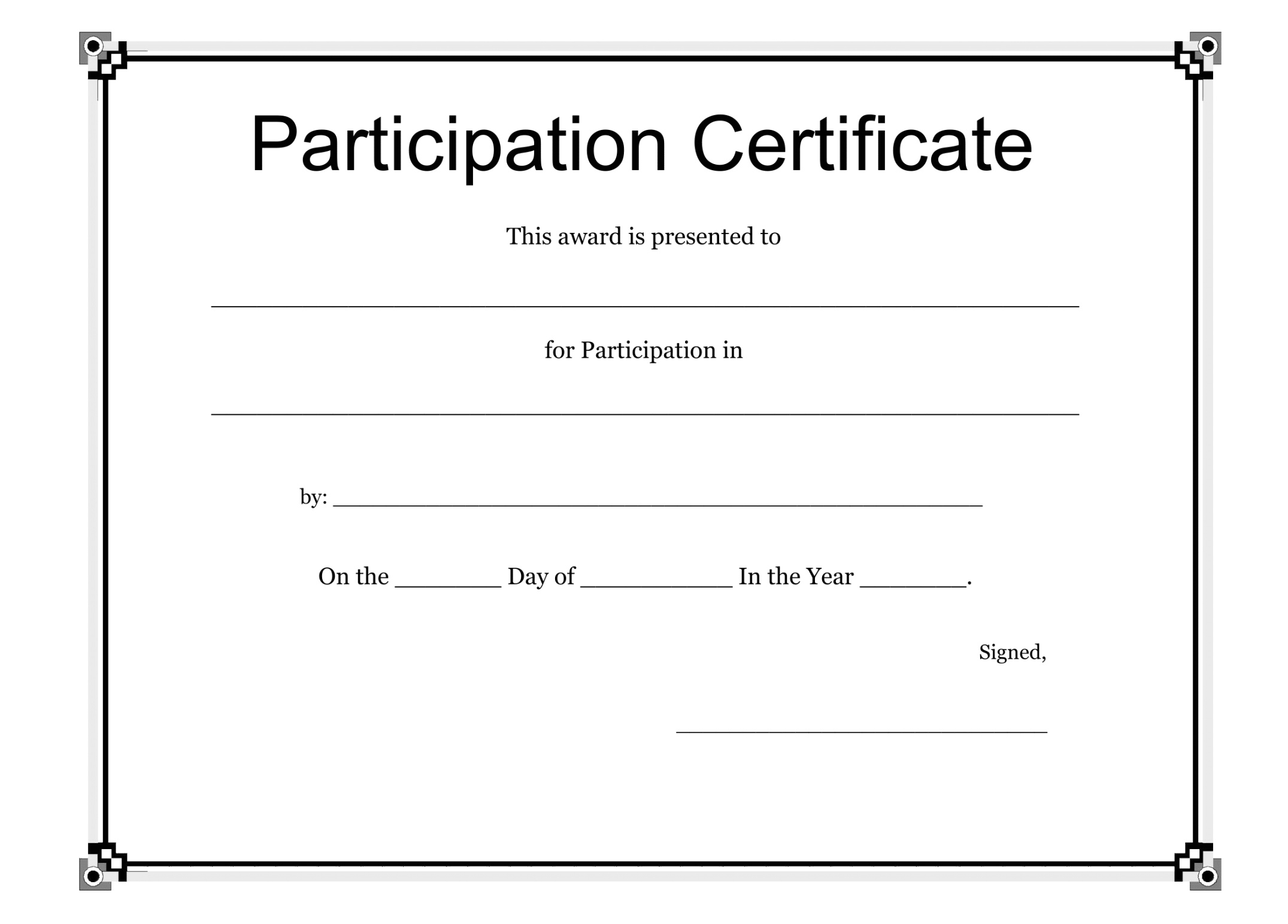 Participation Certificate Template Free Download (Free With Participation Certificate Templates Free Download