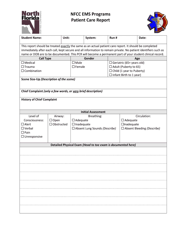 Patient Care Reports - Fill Online, Printable, Fillable Inside Patient Care Report Template