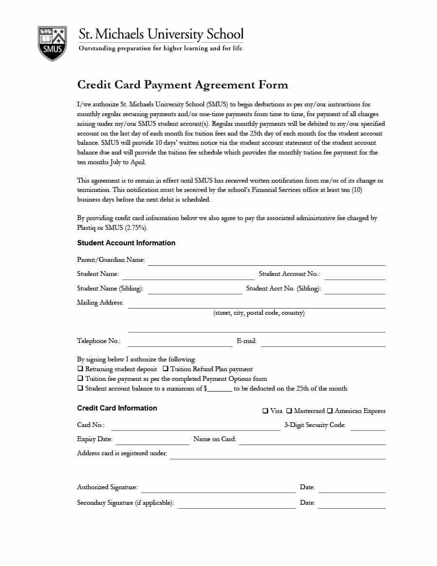 Payment Agreement - 40 Templates & Contracts ᐅ Template Lab intended for Credit Card Payment Plan Template