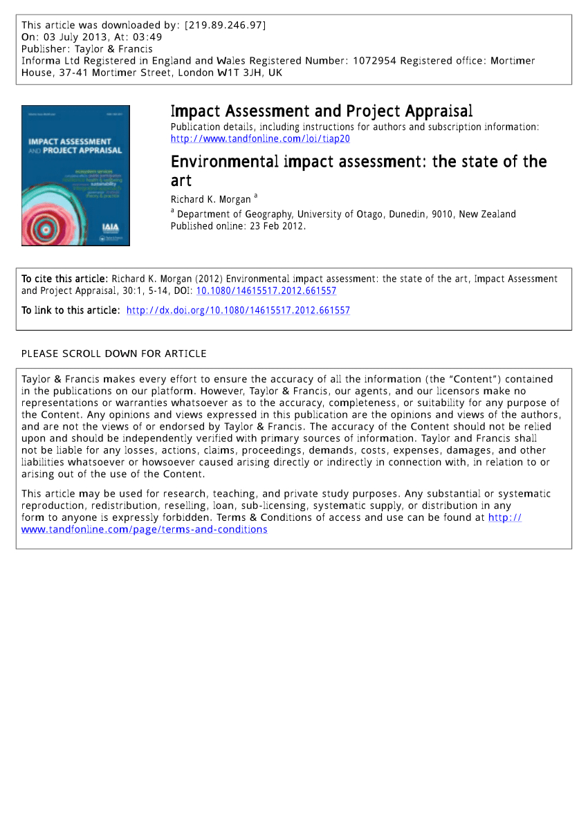 Pdf) Environmental Impact Assessment: The State Of The Art within Environmental Impact Report Template