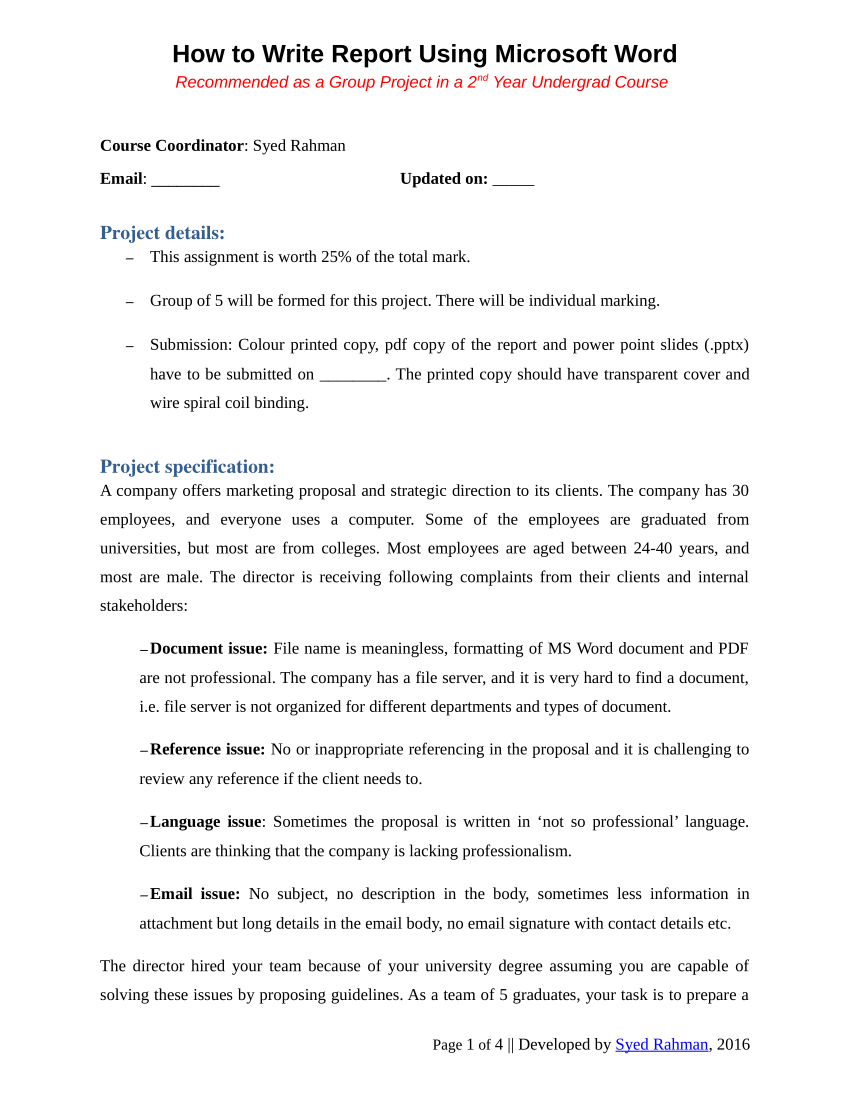 Pdf) How To Write A Report – Assignment Template Within Assignment Report Template