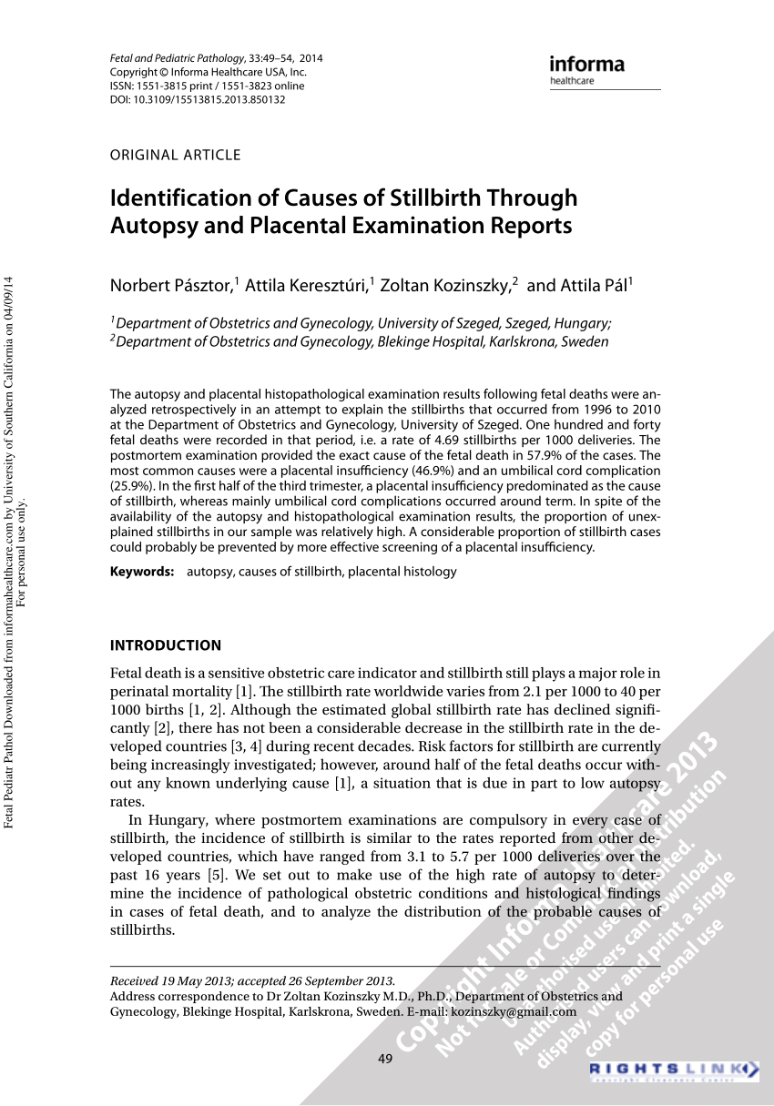 Pdf) Identification Of Causes Of Stillbirth Through Autopsy Pertaining To Autopsy Report Template