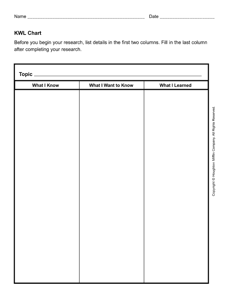 Pdf Kwl Chart - Fill Online, Printable, Fillable, Blank For Kwl Chart Template Word Document