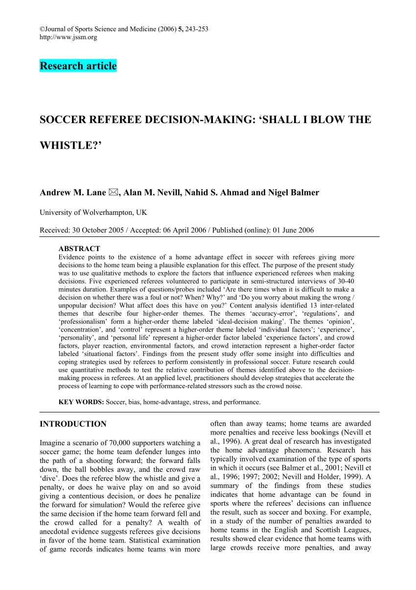 Pdf) Soccer Referee Decision-Making: Shall I Blow The Whistle? pertaining to Soccer Referee Game Card Template