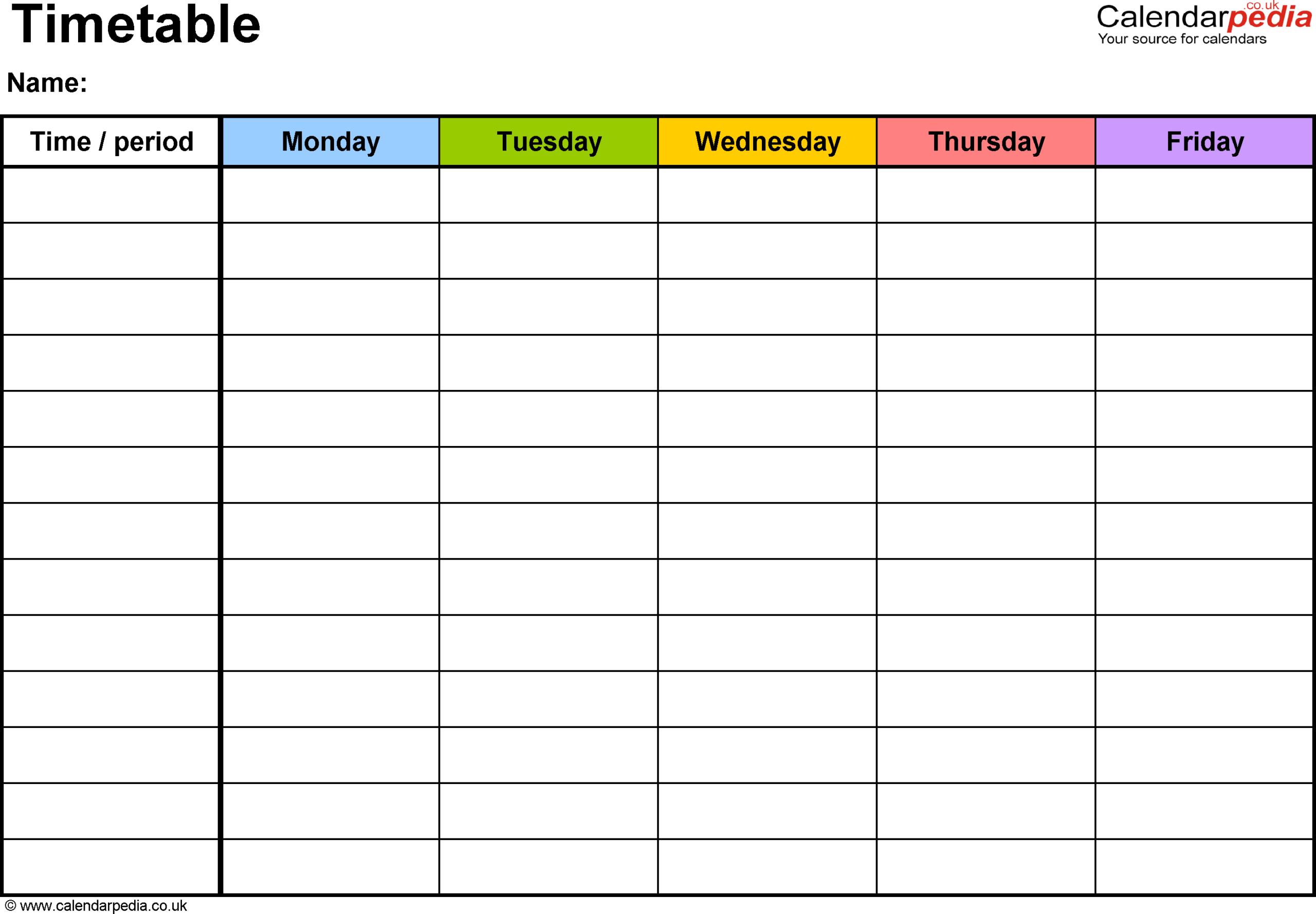 Pdf Timetable Template 2: Landscape Format, A4, 1 Page With Regard To Blank Revision Timetable Template