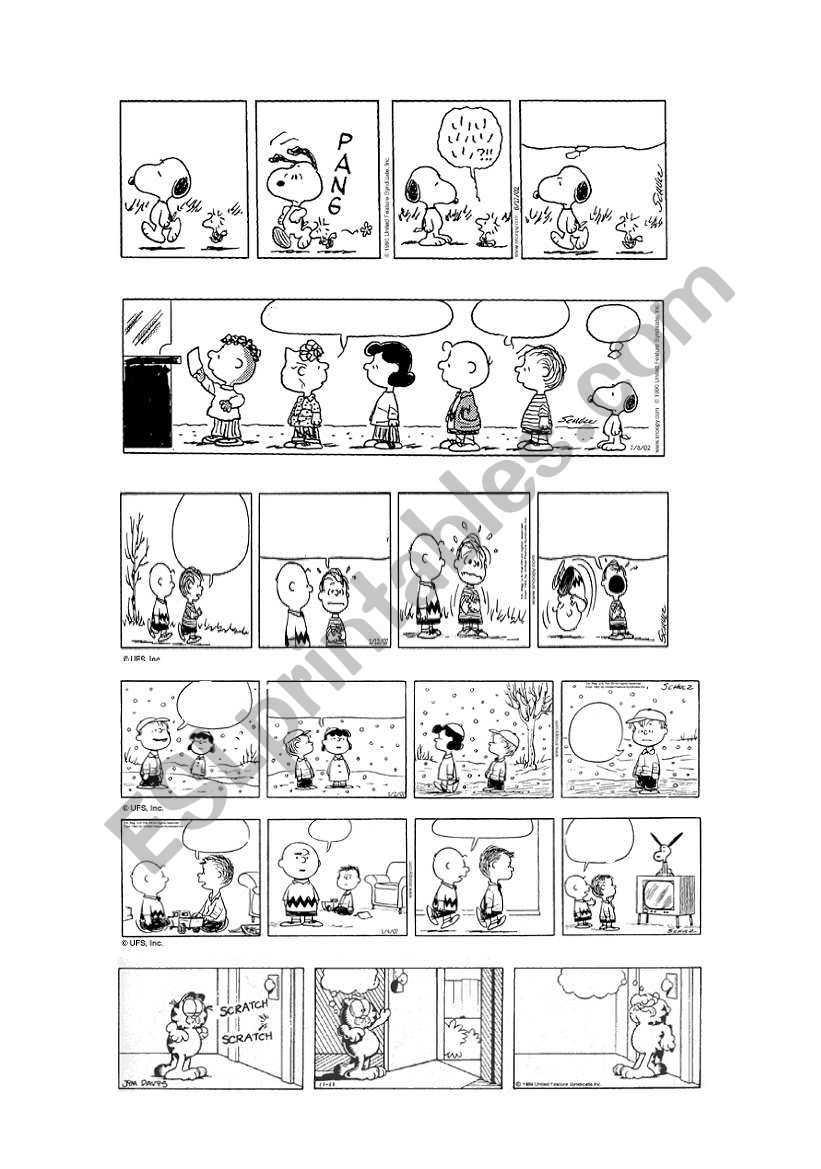 Peanuts & Garfield Blank Comic Strips 1/5 - Esl Worksheet for Printable Blank Comic Strip Template For Kids